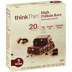thinkThin High Protein Bar, Brownie Crunch - 5 pack, 2.1 oz bars