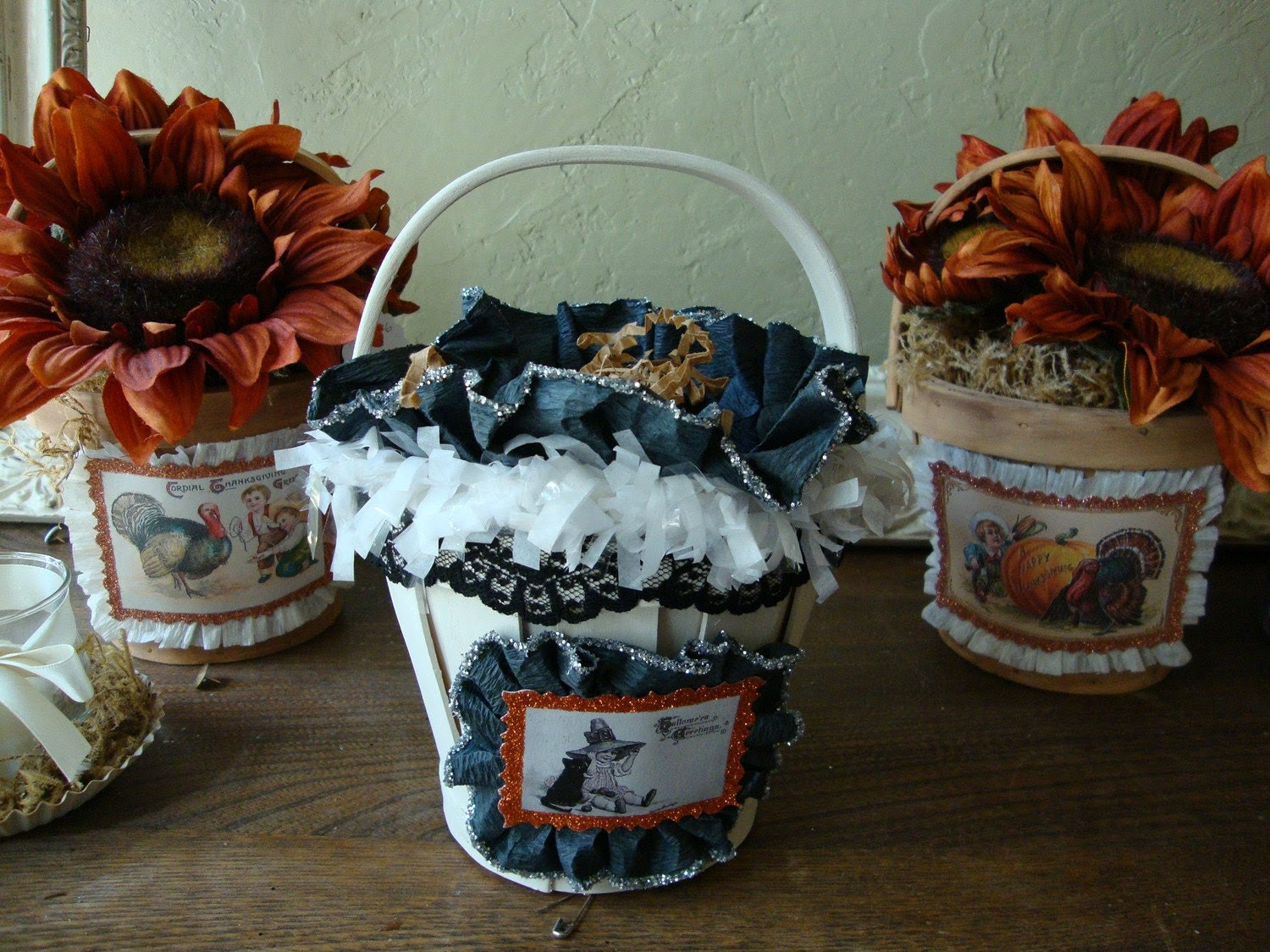 Black and white Candy Basket with Vintage style Halloween witch image