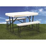 Faulkner 69863 Folding White Picnic Table & Nesting Benches