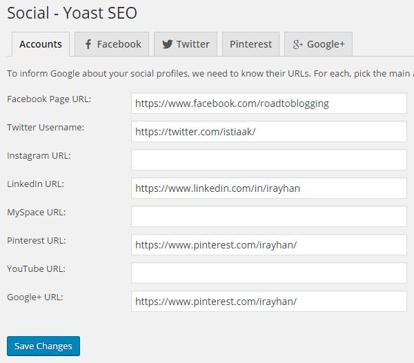 Social Profiles URLs