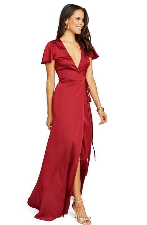 Show Me Your Mumu Noelle Satin Wrap Evening Dress   Best