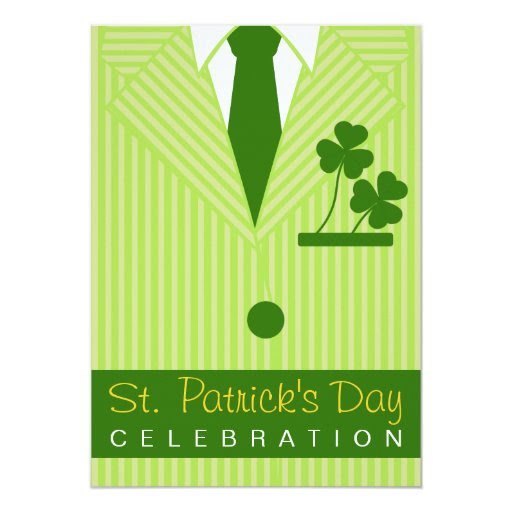 Cool St Patrick's Day Party Pinstripe Suit & Tie 5x7 Paper Invitation Card