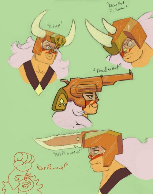 """four very well-thought out redesigns of Jasper's helmet and one last minute submission. ((Top to bottom, left to right: """"Bull's eye"""". """"Rhino That I Know"""", """"Headshot"""", """"One Pawnch"""", """"KNIFE To Meet..."""