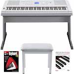Yamaha Portable Grand Electric Piano (White) with Knox Furniture Piano Bench (Wh