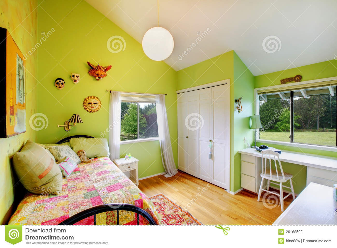 Green Kids, Girls Bedroom.with White Furniture. Royalty Free Stock ...