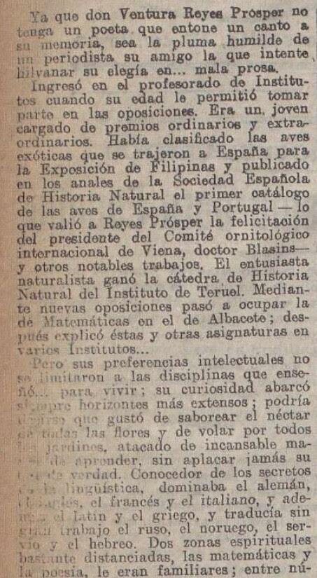 """Elegía a Ventura Reyes Prósper por Alberto de Segovia titulada """"Elegía en mala prosa"""" publicada en La Acción el 20 de diciembre de 1922 (I)"""
