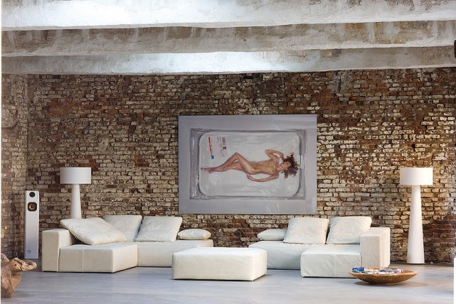 Neutral living room exposed brick