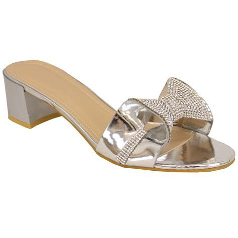 Ladies Diamante Bridesmaid Sandals Open Toe Slip On Block