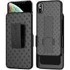 Aduro iPhone XS Max Holster Case, Combo Shell & Holster Case - Super Slim Shell Case with Built-In Kickstand, Swivel Belt Clip Holster for Apple