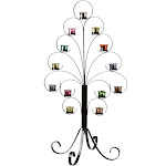Wrought Iron Tree w/ 13 Removable Mercury Glass Votive Candle Holders