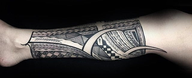 40 Polynesian Leg Tattoo Designs For Men Manly Tribal Ideas