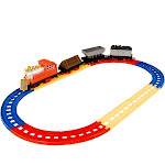 Juvale Railroad Train Set - 12-Piece Railway Train Track and Car Playset, and Educational Toy for Kids, Oval Train Track, Best Gift for Children, Christmas