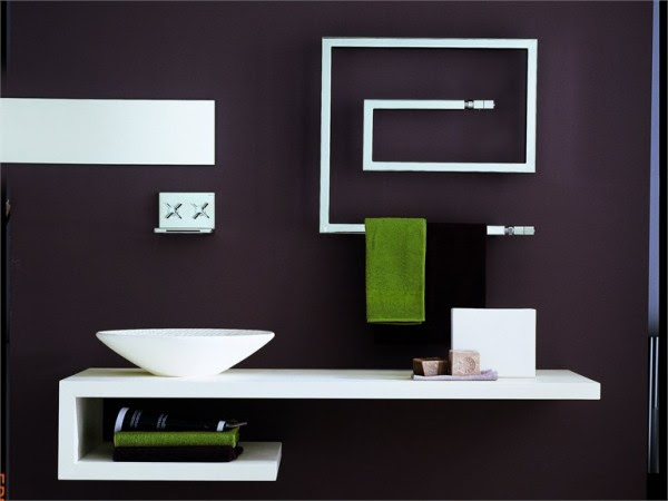 Bruna Rapisarda- Snake minimal-line modern bathroom with towel heater