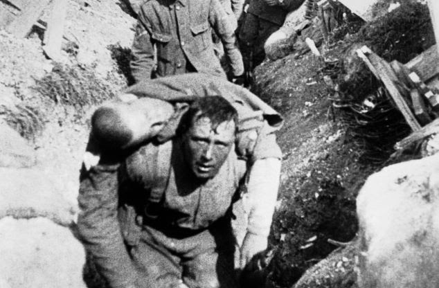 Casualty: Harry's diary described bringing wounded men back from the frontlines. The men pictured were fighting in the Battle of the Somme, where Harry also fought