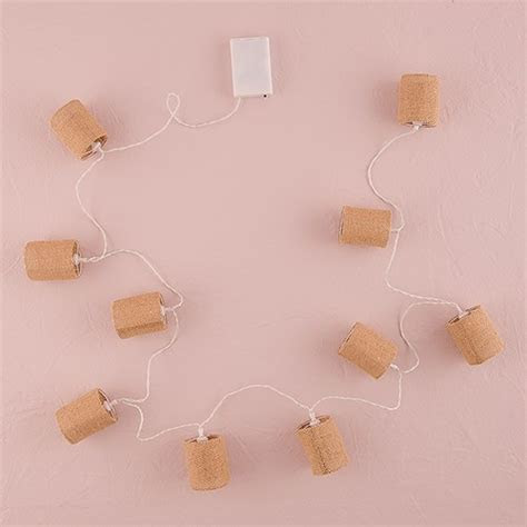 String of Lights with Natural Burlap Shades   Battery LED