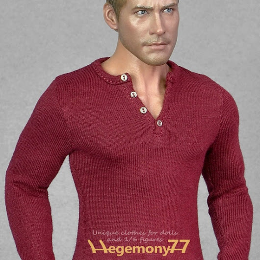 1/6th scale dark red long sleeve henley shirt by Hegemony77com