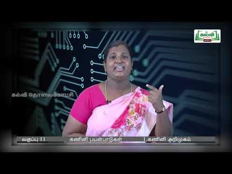 11th Computer Applications கணினி அறிமுகம் அத்தியாயம் 1 பகுதி 2 Kalvi TV