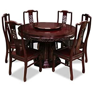 Amazon.com  Hand Crafted 48in Flower and Birds Design Rosewood Round Dining Table with 6 Chairs