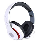 Bluetooth Wireless Headphones with Built In FM Tuner, Memory Card Slot and Mic - White