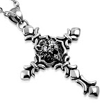 """Stainless Steel Silver-Tone Lion White CZ Mens Pendant Necklace, 21.5"""""""