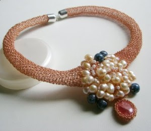 copper pearls gemstone necklace