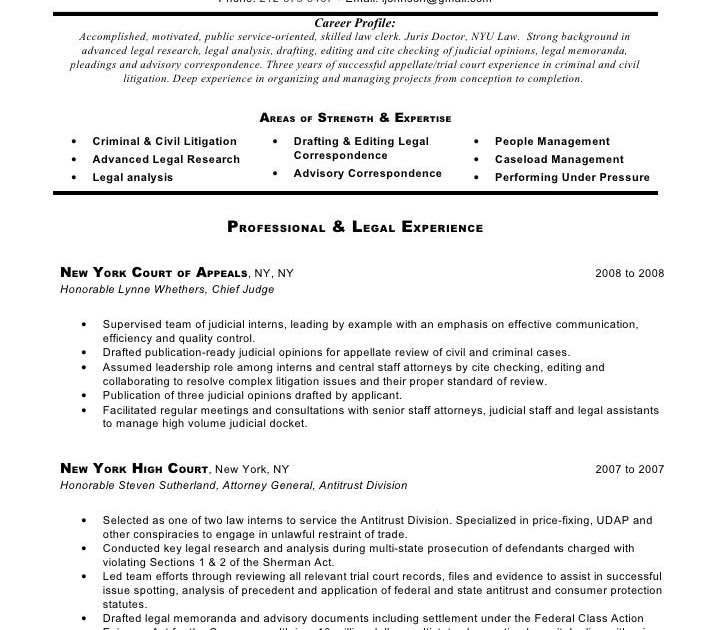 Sample Cover Letter: Sample Resume Judicial Internship