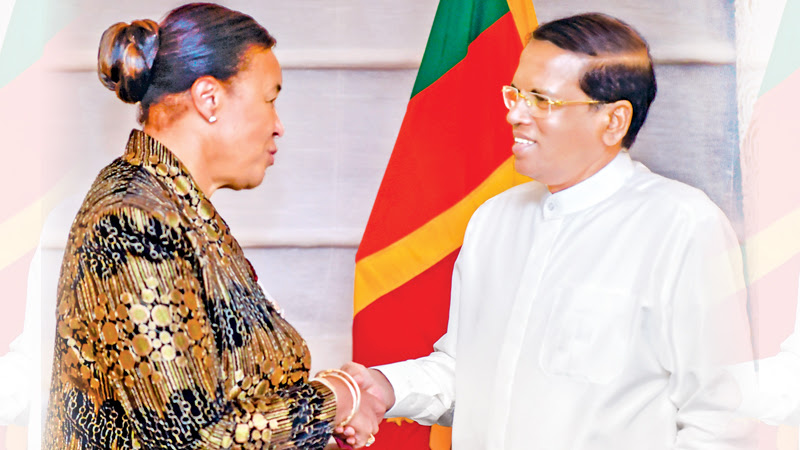 Commonwealth Secretary General Patricia Scotland paid a courtesy call on President Maithripala Sirisena at Loews Regency Hotel in New York on Friday. Picture by Sudath Silva
