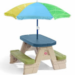 Step2 Sit & Play Kids Picnic Table with Umbrella, Seating for Four