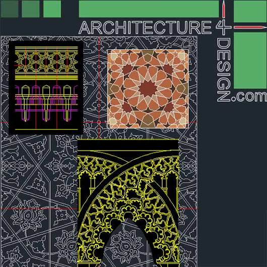 340 Islamic architecture ornament motifs and arches for AutoCad (DWG file) | Architecture for Design