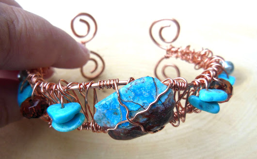 Unique Handmade Copper Cuff Bracelet - Wire Wrapped - Turquoise, Gemstone - Silver Glass Pearl - Adjustable - One of a Kind
