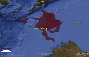 "Cumulative oil slick ""footprint"" in the Timor Sea as of Oct. 21, 2009, based on SkyTruth analysis of satellite imagery."