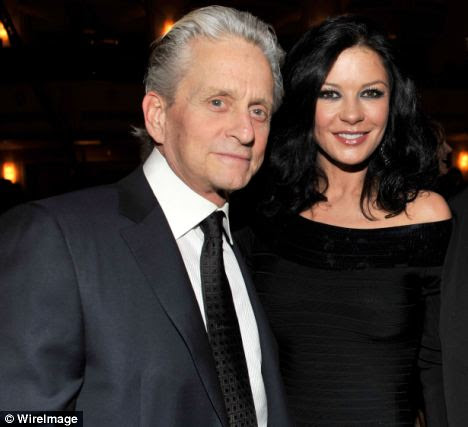Stress: Coping with her husband Michael Douglas's throat cancer brought on Catherine Zeta-Jones's depression, she said