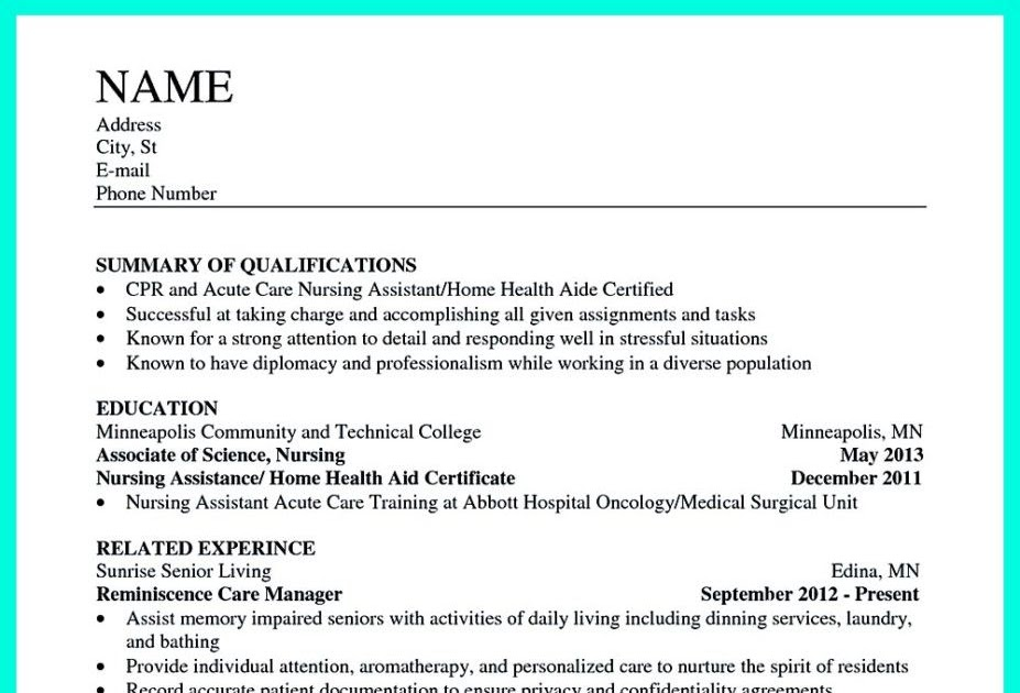 Cna Resume Sample For Hospital - BEST RESUME EXAMPLES