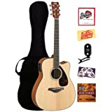 Yamaha FGX700SC Solid Top Cutaway Acoustic-Electric Guitar Bundle with Gig Bag, Tuner, Instructional DVD, Strings...