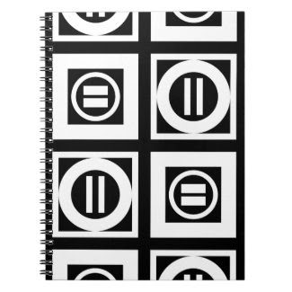 White on Black Geometric Equal Sign Pattern Notebook
