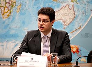 Bruno Magrani, gerente de relações governamentais do Facebook do Brasil, durante depoimento em comissão em Brasília