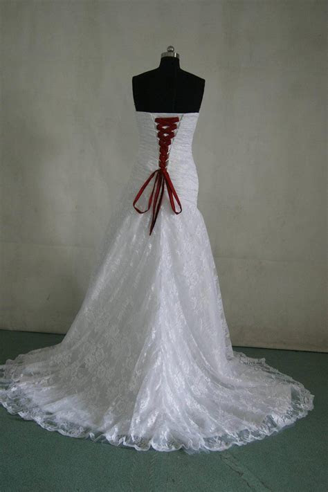 White lace wedding gown   red corset lace up.