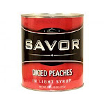 Savor Imports Diced Peaches in Light Syrup, Number 10 Can - 6 per case.