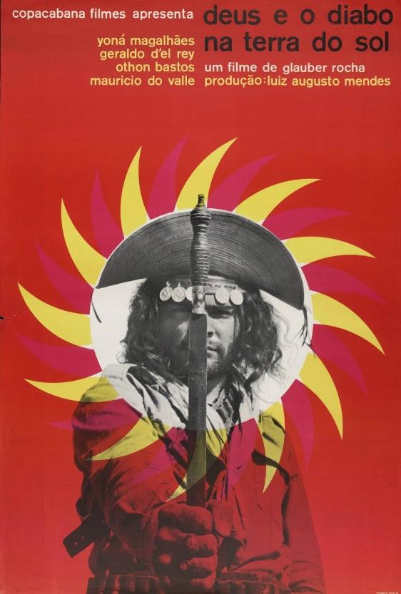 Cartaz da película Deus e o diabo na terra do sol, de Gláuber Rocha, de 1964