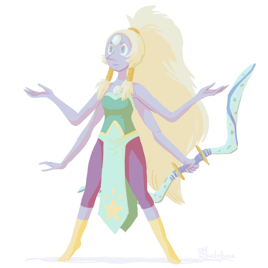 Drew this radical fusion during my first art stream EVAAAH man I should draw more steven universe stuff. :'O Opal probably has my fave fusion design so far, so elegant~ [on the tumbles]