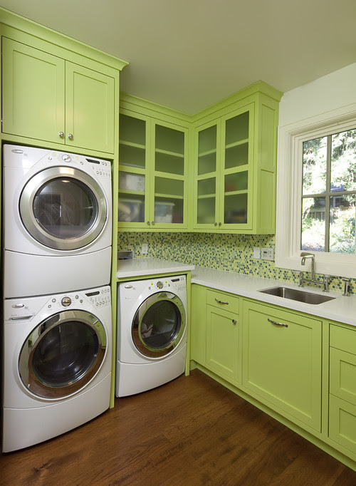 How deep is the upper cabinet above the stacked washer and dryer