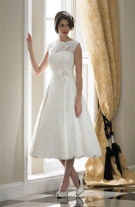 tea length whiteivory lace wedding dress short bridal