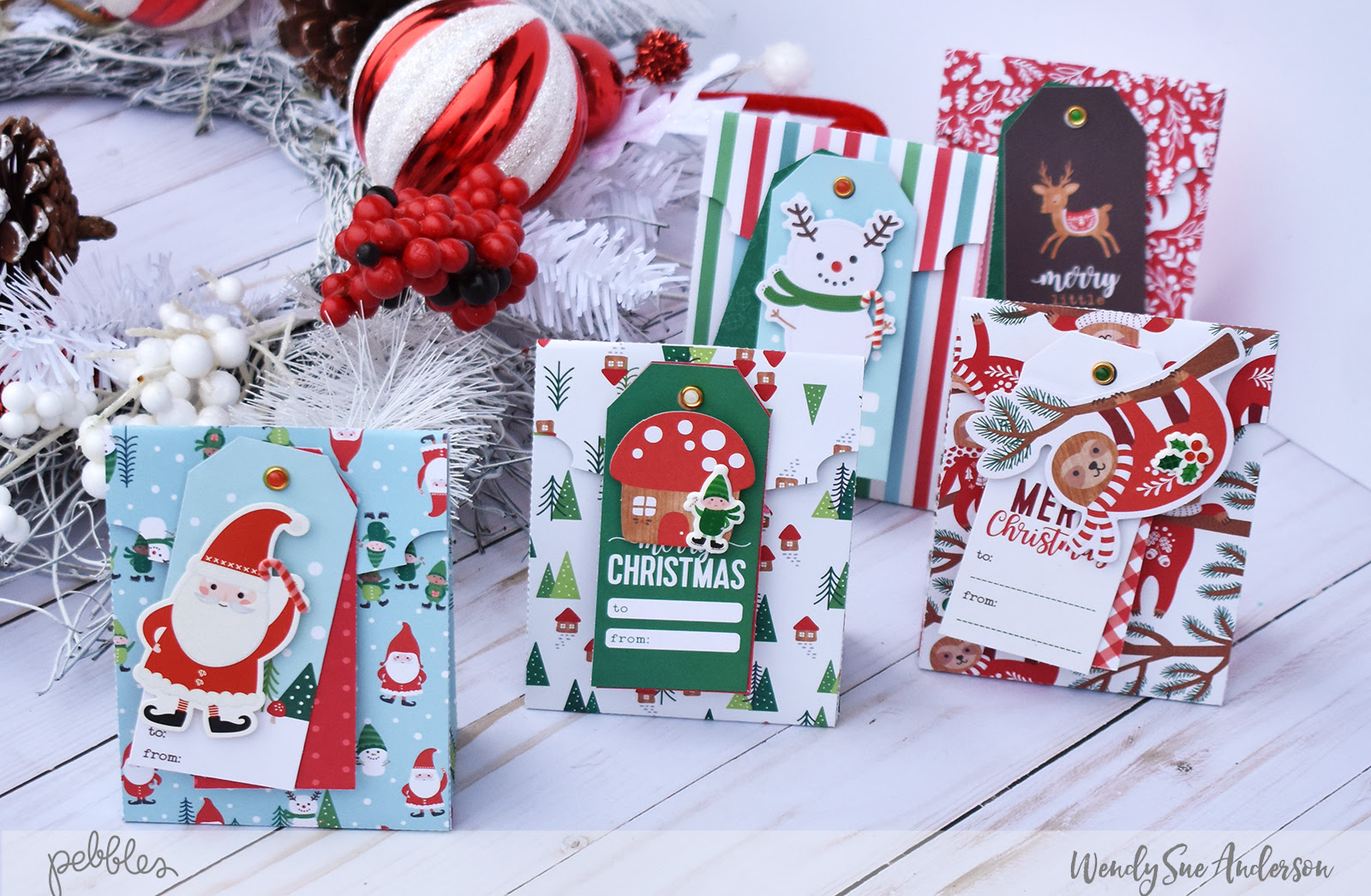 """Mini Christmas Treat Bags by Wendy Sue Anderson featuring the """"Cozy & Bright"""" collection by @PebblesInc."""
