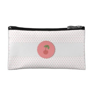 Polka Dot {pink} Cherry Makeup Bags