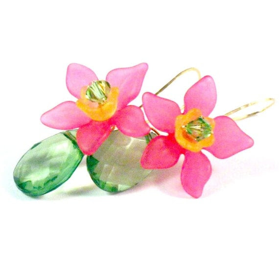 Hot Pink Plumeria Dangle Earrings, Crystal, Brass