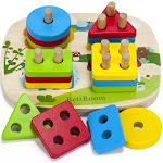 BettRoom Toddler Toys for 1 2 3 4-5 Year Old Boys Girls Wooden Educational Preschool Shape Color Recognition Geometric Board Blocks Stacking Sort Kids