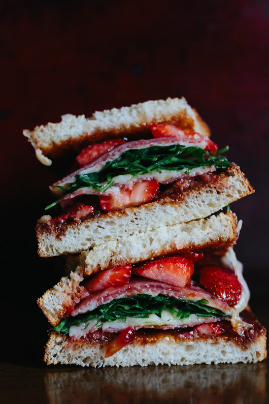 Strawberry Grilled Cheese with Fig Jam and Salami - Meg is Well