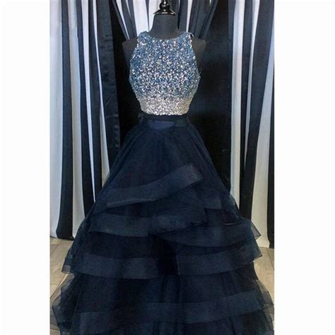 Navy Blue Long Prom Dresses 2018 with Rhinestones Ruffles