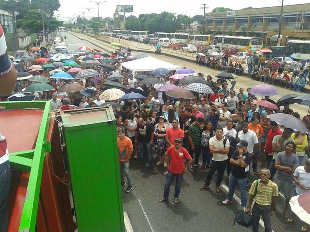 protesto professores greve TJ almirante barroso fechada  (Foto: Abel Ribeiro/Sintepp )