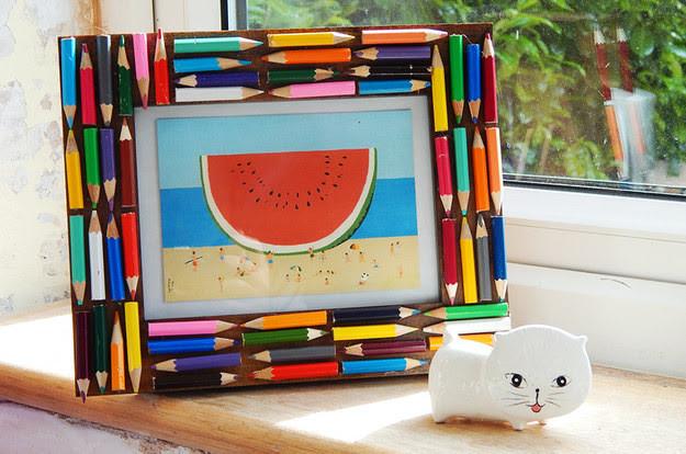 14. Фоторамка из цветных карандашей дети, поделки, своими руками, сделай сам, творчество